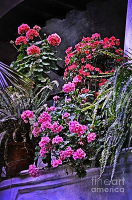 Twilight In The Courtyard Print by Mary Machare