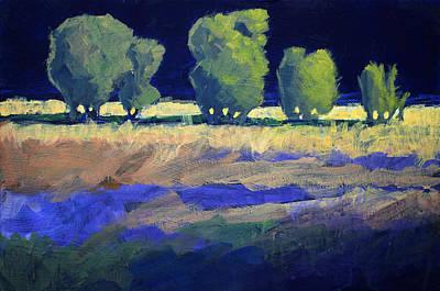 Sunlit Tree Painting - Twilight Landscape by Nancy Merkle
