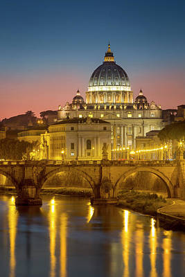 Vatican Photograph - Twilight Over River Tibor And The Dome by Brian Jannsen