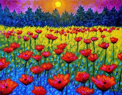 Twilight Poppies Print by John  Nolan