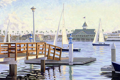 Sailboats In Harbor Painting - Twilight Sail by Steve Simon