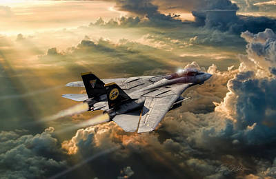 Us Navy Digital Art - Twilight Tomcatter by Peter Chilelli