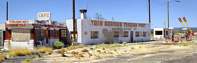 Panoramic Digital Art - Twin Arrows Trading Post by Mike McGlothlen
