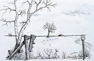 Twin Birch Fence Line Print by Jack G  Brauer