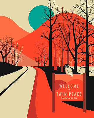 Twin Peaks Travel Poster Print by Jazzberry Blue