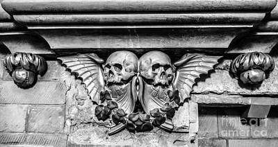 Designs With Photograph - Twin Winged Skull With Laurel Detail - Southwark Cathedral - London - England - Black And White by Ian Monk