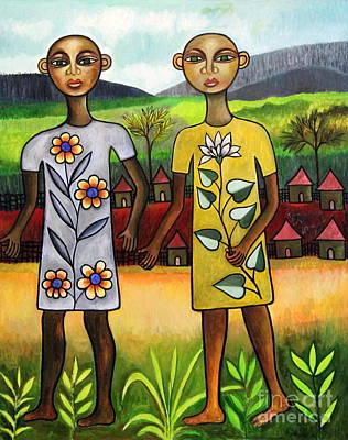 Contemporary Tribal Art Painting - Twins by Ephrem Kouakou