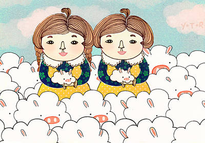 Rabbit Digital Art - Twins by Yoyo Zhao