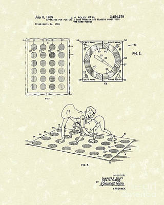 Game Piece Drawing - Twisting Game 1969 Patent Art by Prior Art Design