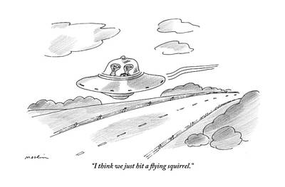 Two Aliens Fly A Saucer Down A Highway Print by Michael Maslin