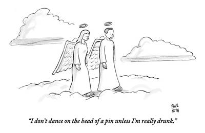 Angels Drawing - Two Angels Walking In Heaven Having by Paul Noth