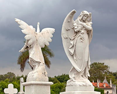 Two Angels With Cross Print by Terry Reynoldson