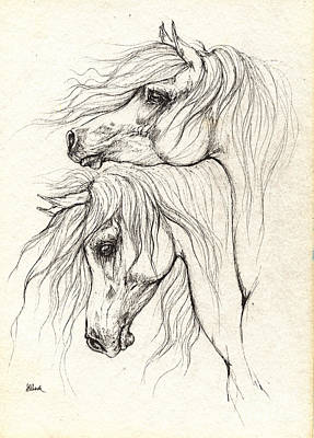 Custom Horse Portrait Drawing - Two Arabian Horses Drawing by Angel  Tarantella