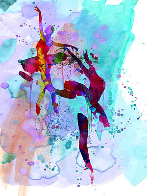 Ballet Painting - Two Ballerinas Watercolor 1 by Naxart Studio