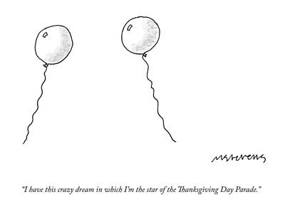 Balloon Drawing - Two Balloons Speak To One Another by Mick Stevens