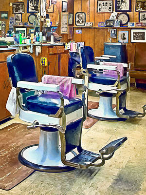 Two Barber Chairs With Pink Striped Barber Capes Print by Susan Savad