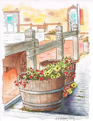 Red Cube Painting - Two Barrels With Flowers In Calabazas - California by Carlos G Groppa