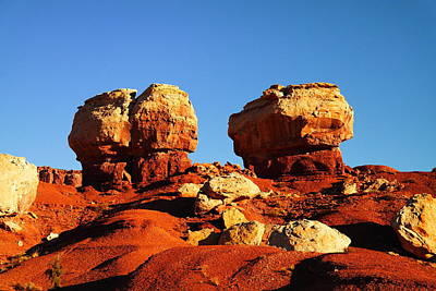 Two Big Rocks At Capital Reef Print by Jeff Swan
