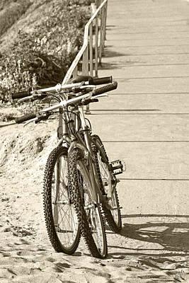Two Bikes On The Beach Print by Ben and Raisa Gertsberg