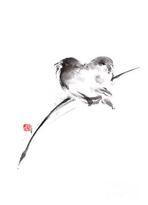 Sparrow Painting - Two Birds Minimalism Artwork. by Mariusz Szmerdt