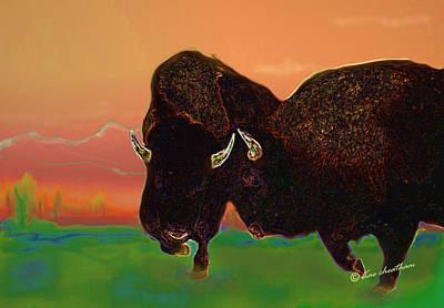 Two Bison Print by Kae Cheatham