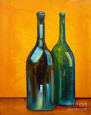 Bottle Of Wine Painting - Two Bottles by Jodi Monahan