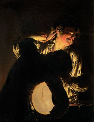 Candle Lit Painting - Two Boys Fighting Over A Bladder by Joseph Wright of Derby