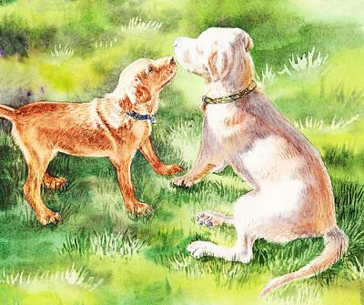 Sniff Painting - Two Brothers Labradors by Irina Sztukowski