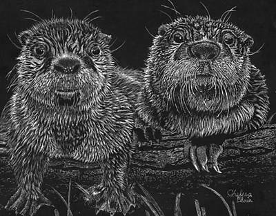 Otter Mixed Media - Two Bumps On A Log by Chelsea Blair