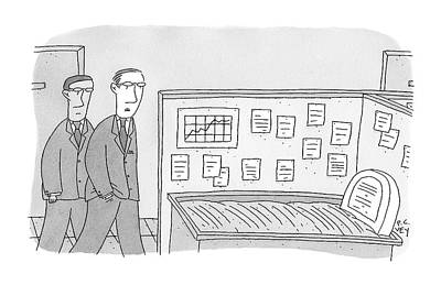 Workaholics Drawing - Two Businessmen Look Into A Cubicle Which by Peter C. Vey