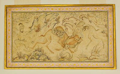 Camels Painting - Two Camels Fighting by Celestial Images