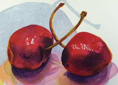 Painting - Two Cherries by Donna Pierce-Clark