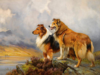Wright Barker Painting - Two Collies Above A Lake by Wright Barker