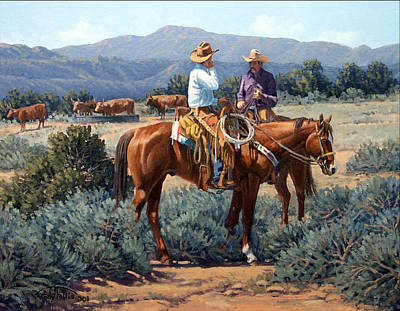 Sagebrush Painting - Two Cowboys by Randy Follis