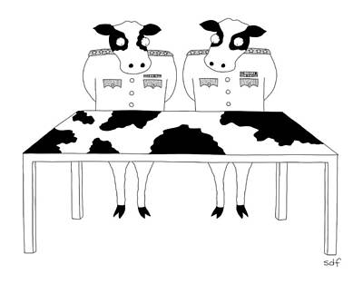 Cow Drawing - Two Cows In Military Dress Looking At A Map Table by Seth Fleishman