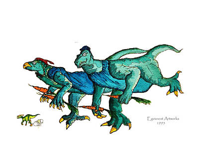 Carrot Drawing - Two Dinos On The Run  by Michael Shone SR