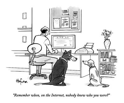 Two Dogs Speak As Their Owner Uses The Computer - Print by Kaamran Hafeez