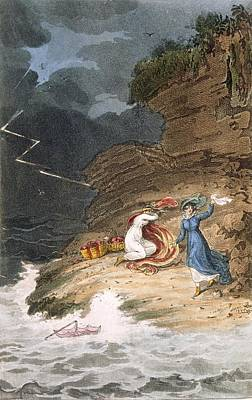 Coastal Drawing - Two Early Regency Belles Caught by James Green