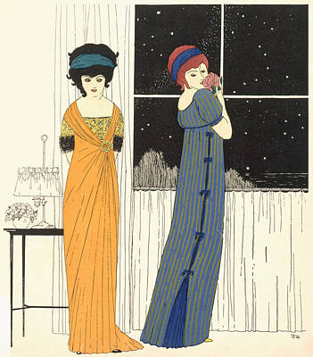 Clothes Clothing Painting - Two Empire Line Evening Dresses by Paul Iribe