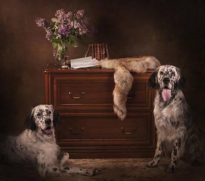 Two English Setters... Print by Tanya Kozlovsky