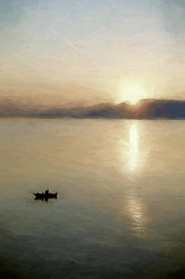 Two Fishermen And A Sunrise Print by John K Woodruff