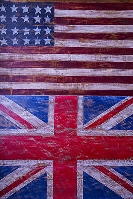 Two Flags American And British Print by Garry Gay