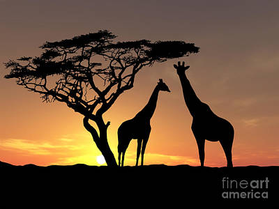 Park Scene Painting - Two Giraffes by James Ashley