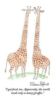 Giraffe Drawing - Two Giraffes Talking by Victoria Roberts