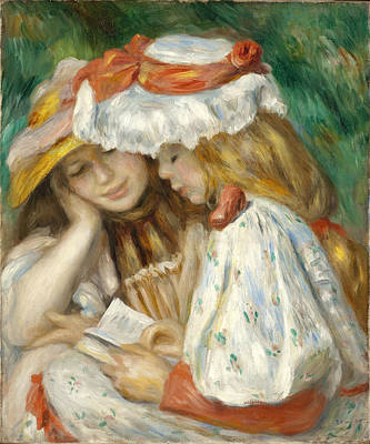 Pierre-auguste Renoir Painting - Two Girls Reading by Pierre-Auguste Renoir