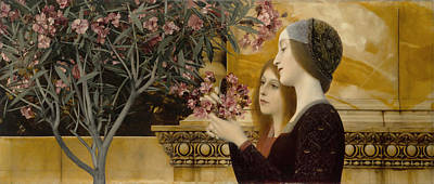 Oleanders Painting - Two Girls With Oleander by Celestial Images