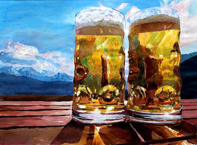 Two Glasses Of Beer With Mountains Print by M Bleichner
