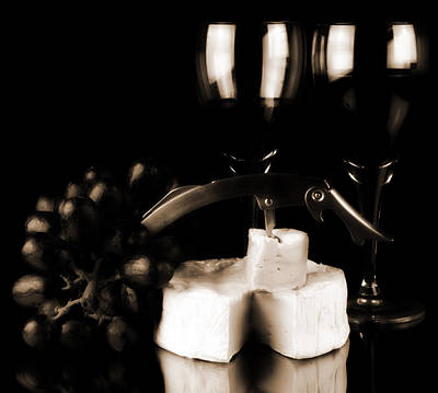 Two Glasses Of Red Wine A Cammembert Original by Toppart Sweden