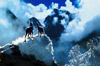 Baptism Mixed Media - Two Goats On Top Of Hill On Way To Nanda Devi Peaks Himalaya Mount Everest Journey by Navin Joshi