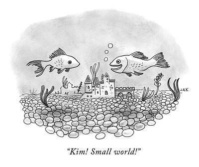 Goldfish Drawing - Two Goldfish In A Fishbowl Cross Paths by Jason Adam Katzenstein